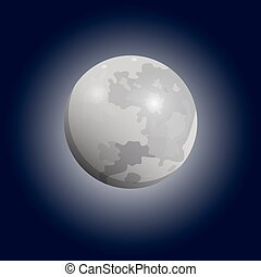 Full moon seen with a telescope. Luna flat icon. Vector...