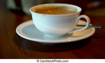Close up cup of coffee.
