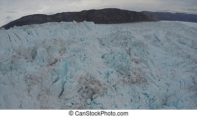 Aerial view of Ice Glacier flows view from helicopter