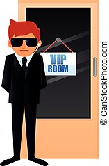 Security guarding VIP vector - Vector illustration of a...
