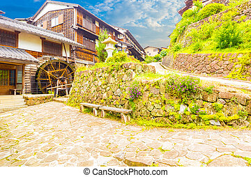 Stone Wall Waterwheel Nakasendo Trail Magome H - Traditional...