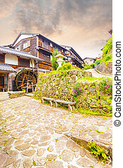 Waterwheel Nakasendo Trail Magome Sunset V - Rustic...
