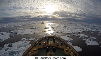 Icebreaker in the ice travel in the Arctic