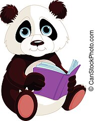 Cute Panda is reading a book. Education