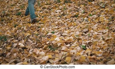 Feet boots walking on fall leaves Outdoor with Autumn season...
