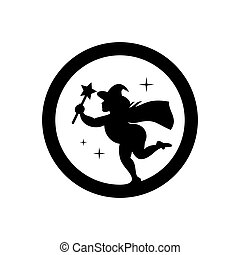 Vector Halloween Witch emblem Cartoon Illustration. - Wizard...