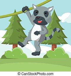 lemur swinging vector illustration design