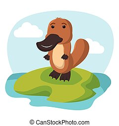 platypus character vector illustration design