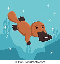 platypus swimming vector illustration design