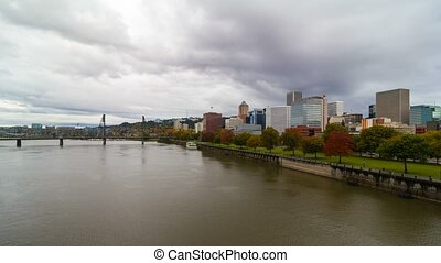 Time lapse in Portland OR fall day - Time lapse movie of...