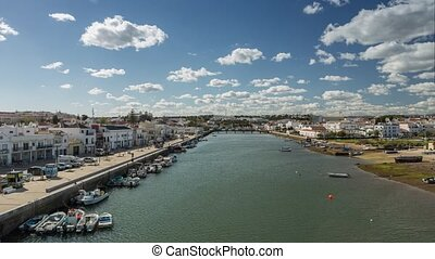 Time laps town of Tavira. Movement of the city. Portugal Faro.