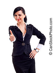 Business woman giving thumbs up isolated on white white...