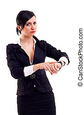 business woman pointing her watch - angry business woman...