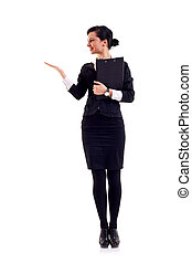Business woman presenting - Business woman with a clipboard...