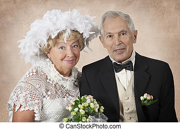 Fifty years together - Wedding portrait of an elderly couple...