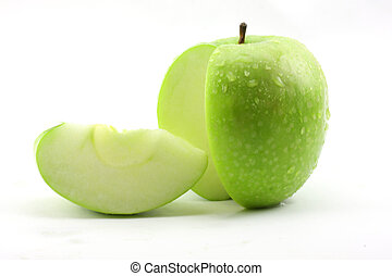 The sliced green apple - green apple