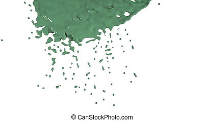 green paint dripping down over screen. Colored paint - green...