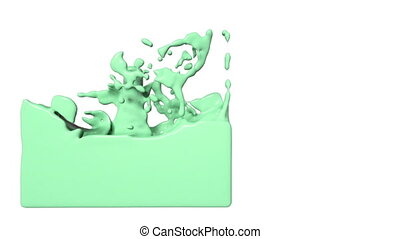 green turbulent liquid filling a container. Colored paint -...