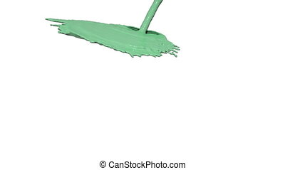green liquid flow falls down fills background. Colored paint...