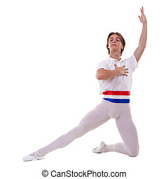 ballet pose performed by a young male ballet dancer on white