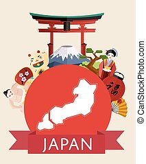 Japan travel concept with famous attractions.
