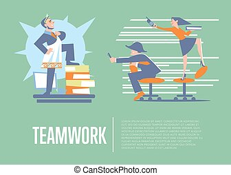 Teamwork banner with business people - Big boss in roman...