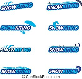 Vector sticker snowkiting, ryder, kite and snowboarding....