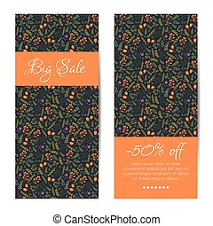 Vector discount sale banners with floral pattern