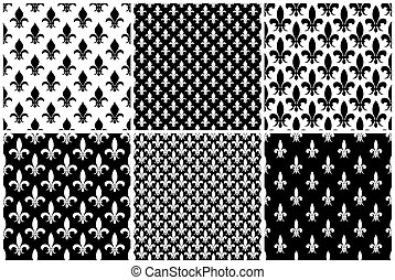Vector fleur de lis seamless patterns set in black and white
