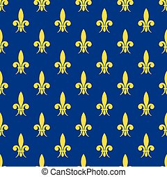 Golden fleur de lis royal lily vector seamless pattern
