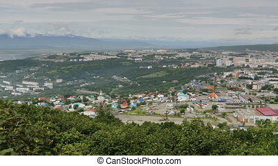 Petropavlovsk Kamchatsky on the background of Avacha group...