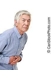 3º edad, japonés, hombre, sufre, De, Stomachache