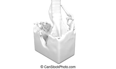 white fluid fills up a rectangular container. Colored paint...