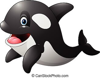 Cute orca isolated on white - Vector illustration of Cute...