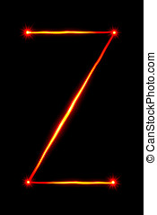 red light painting letter Z on black background