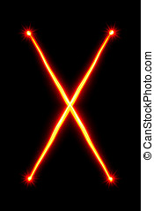 red light painting letter X on black background