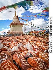 Mani stones and Buddhist stupa - Mani stones ( Marnyi Stones...