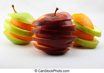The sliced  apples and orange
