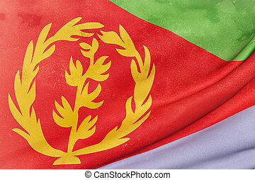 Eritrea flag waving - 3d rendering of an old and dirty...