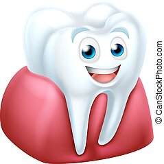 Tooth and Gum Cartoon Character - Cute tooth dentists mascot...