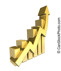 Statistics graphic in gold - 3d made