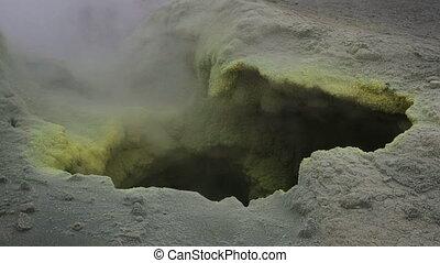 Fumarole activity in crater of Mutnovsky volcano. - Fumarole...