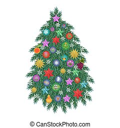 Fir tree illustration - Fir tree new year illustration