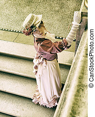 Lady on the stairs - 19. century lady posing on stairs