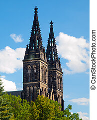 Two towers of Saint Peter and Paul Cathedral on Vysehrad in...