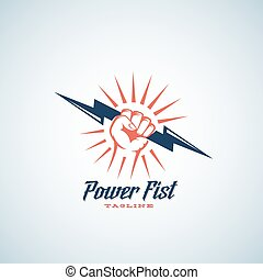 Power Fist Abstract Vector Emblem, Symbol or Logo Template. Hand Holding Lightning Bolt Silhouette with Retro Typography.