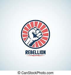 Rebellion Fist Symbol. Abstract Vector Emblem or Logo Template. Hand with Rays in a Circle Silhouette.