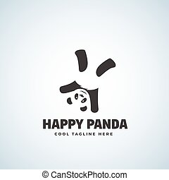 Happy Panda Abstract Vector Emblem or Logo Template. Funny Bear Upside Down.
