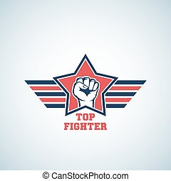 Top Fighter Abstract Vector Sign, Symbol, Icon or Logo Template. Striking Fist in Red Star with Stylized Wings.