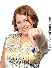 Smiling girl stretches automobile keys